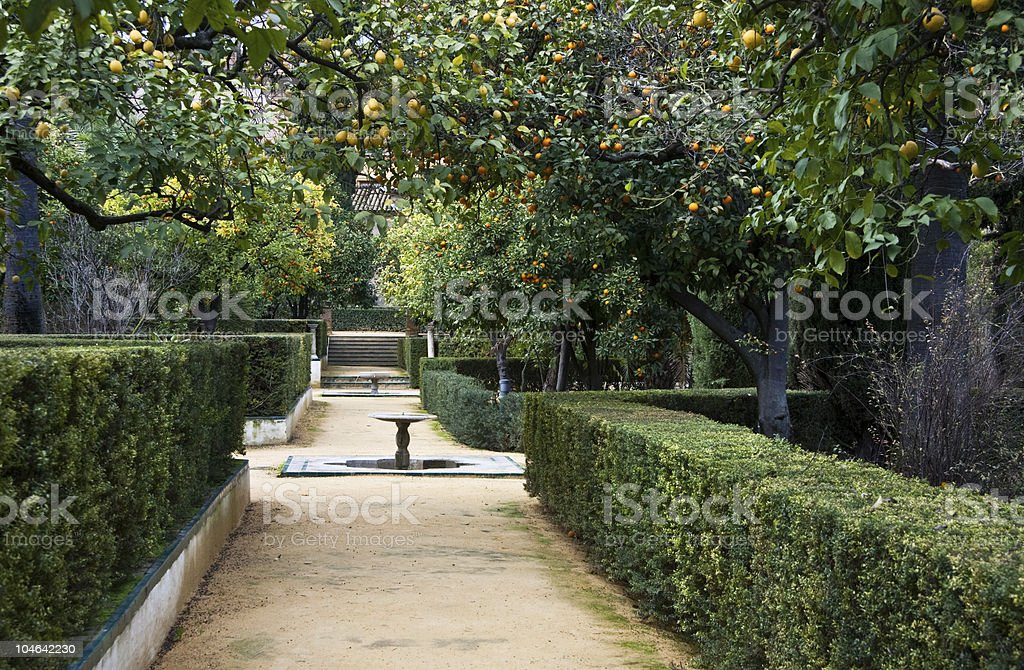 Seville, Real Alcazar Gardens stock photo