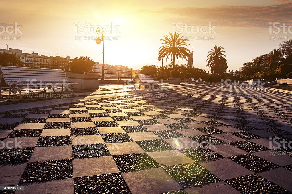 Seville riverbank walkaway royalty-free stock photo