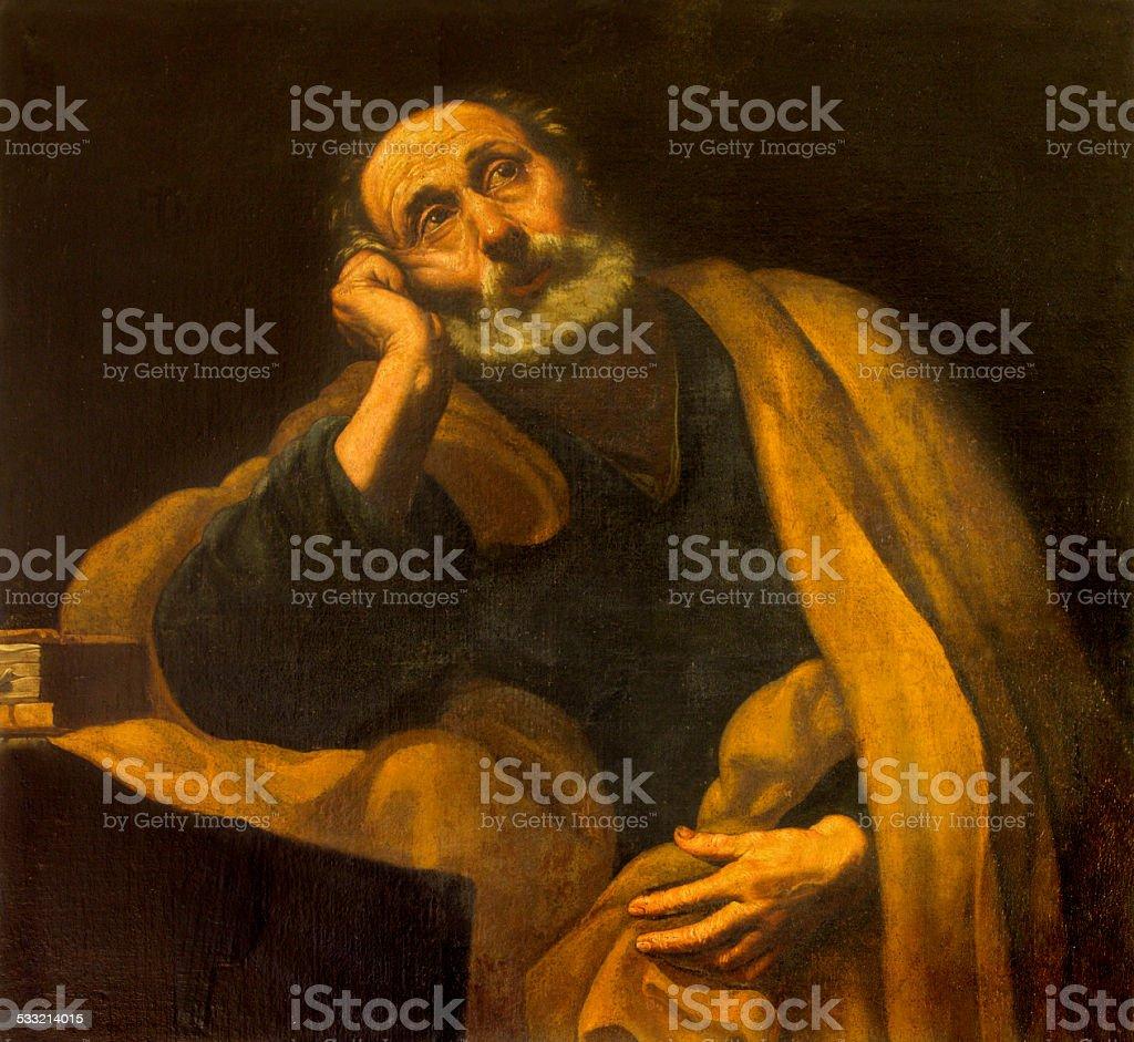 Seville - saint Peter the Apostle paint stock photo