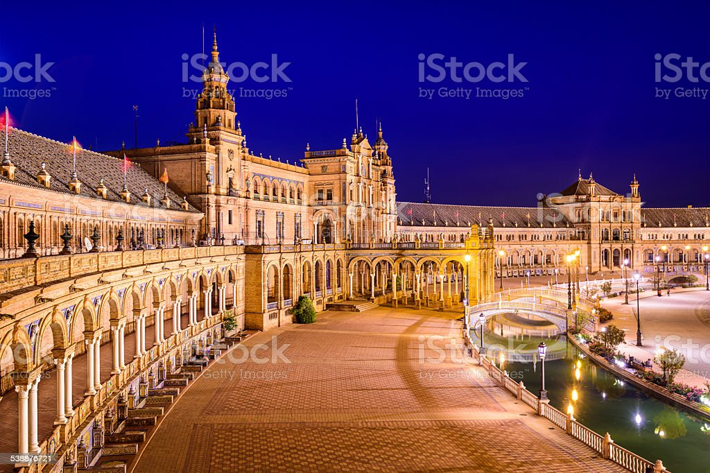 Seville, Spain at Spanish Square stock photo