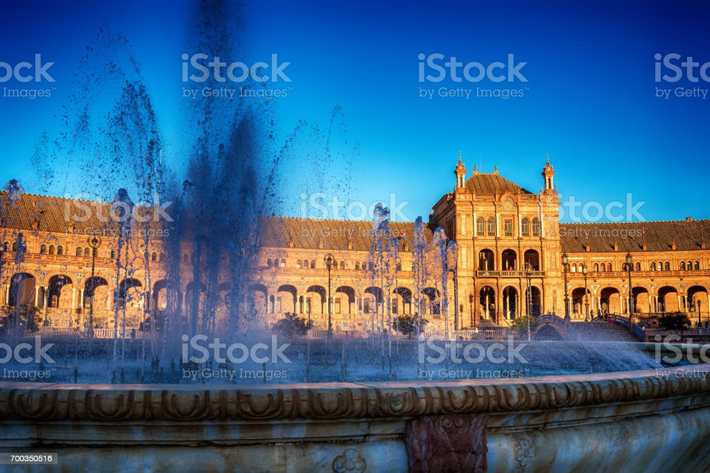 Seville, Spain: The Plaza de Espana, Spain Square stock photo
