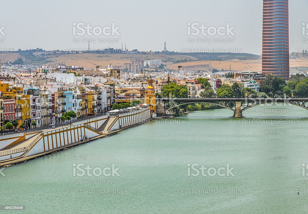 Seville, Spain waterfront along the river stock photo