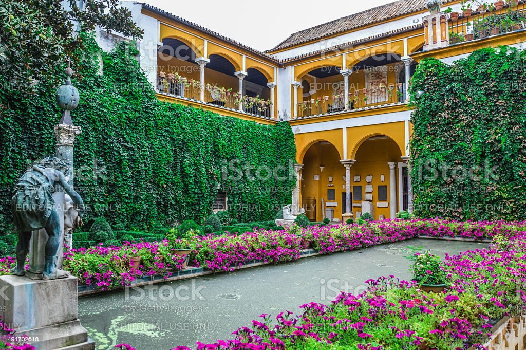 Seville - The gardens of Casa de Pilatos stock photo