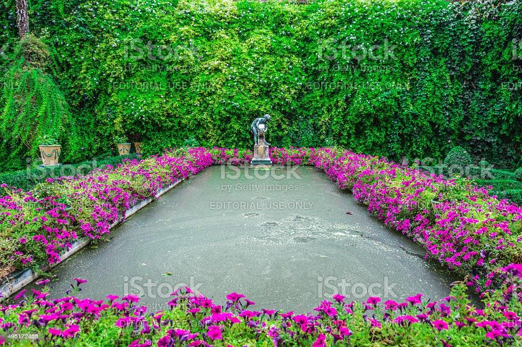 Seville - The gardens of Casa de Pilatos stock photo