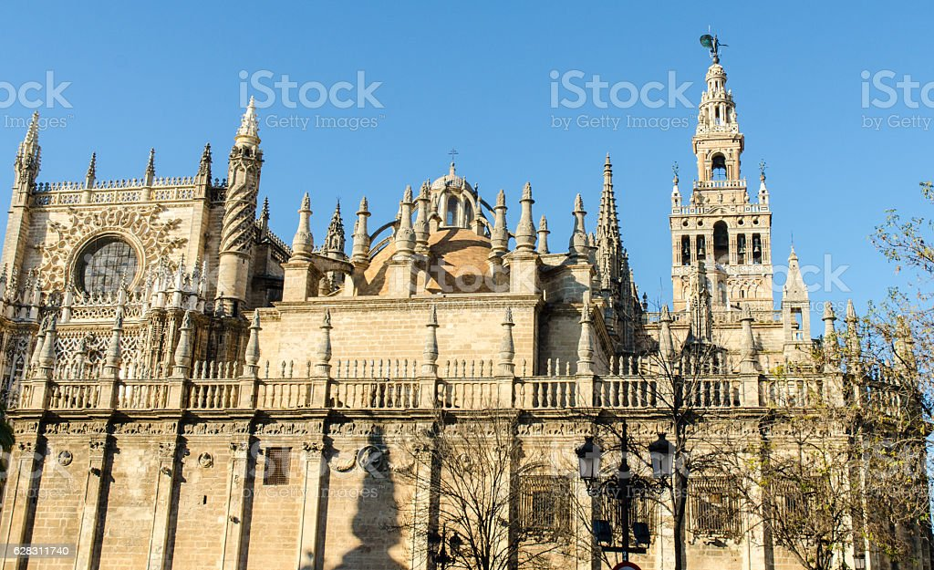 Seville - The gothic cathedral and the Giralda stock photo