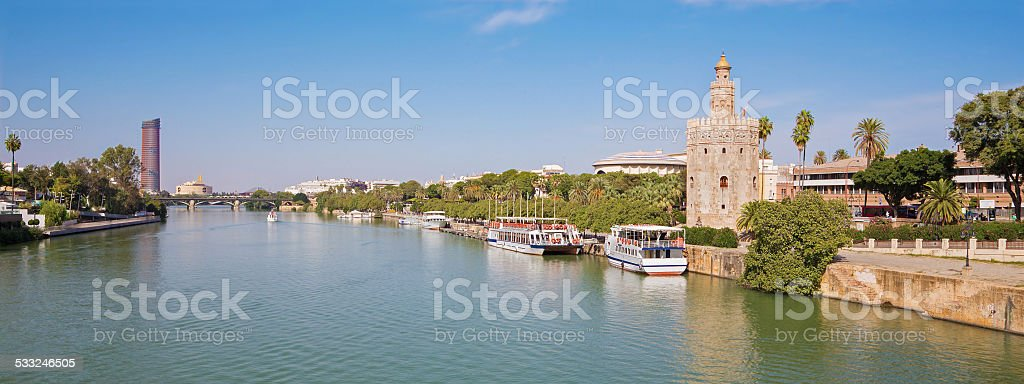 Seville - The medieval tower Torre del Oro stock photo