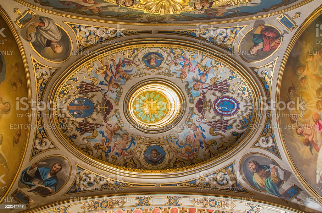 Seville - The neo-baroque fresco in cupola of chapel. stock photo