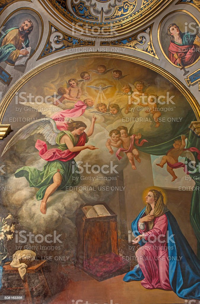 Seville - The neo-baroque paint of Annunciation stock photo