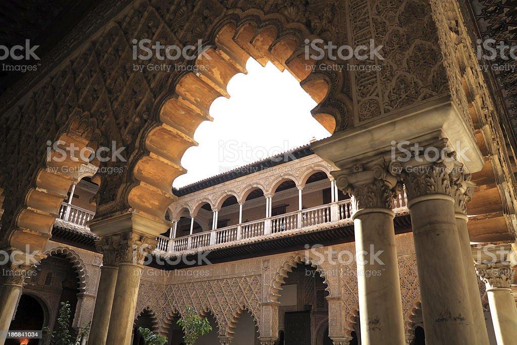 Seville (Sevilla). The Royal Alcazar. Patio de las Doncellas royalty-free stock photo
