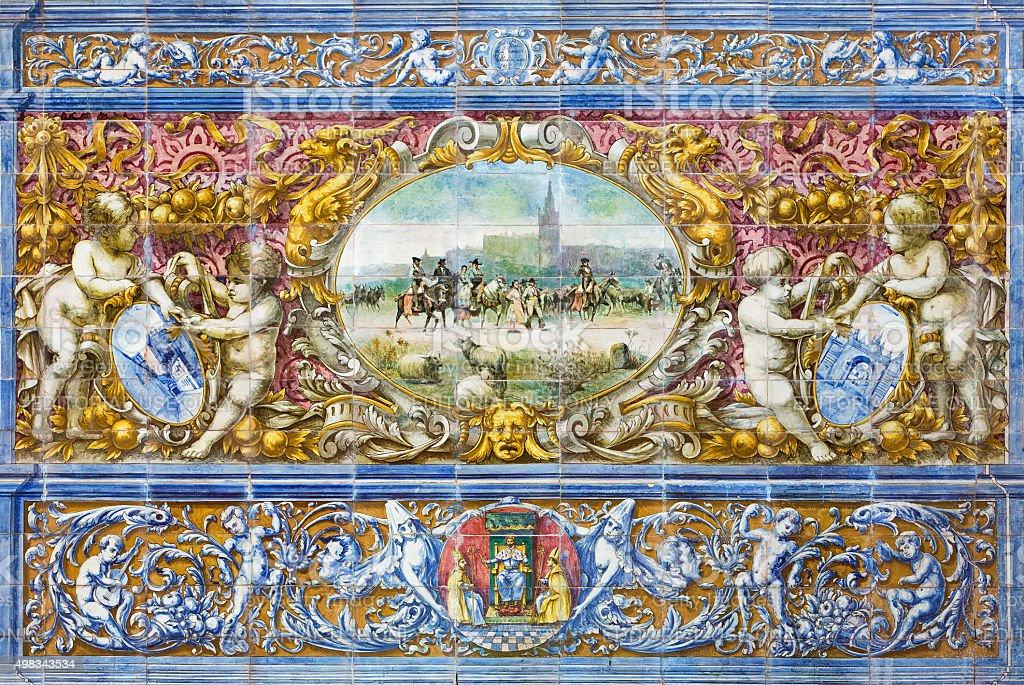 Seville - The Seville image tiled on Plaza de Espana stock photo