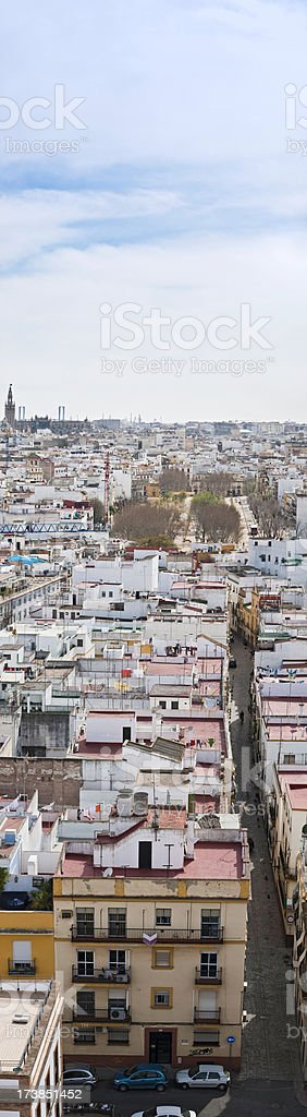 Seville villas and streets vertical banner royalty-free stock photo