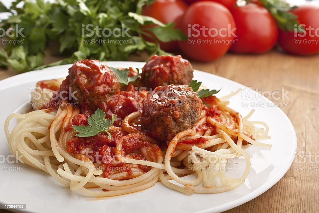 seving of spaghetti with meatballs royalty-free stock photo
