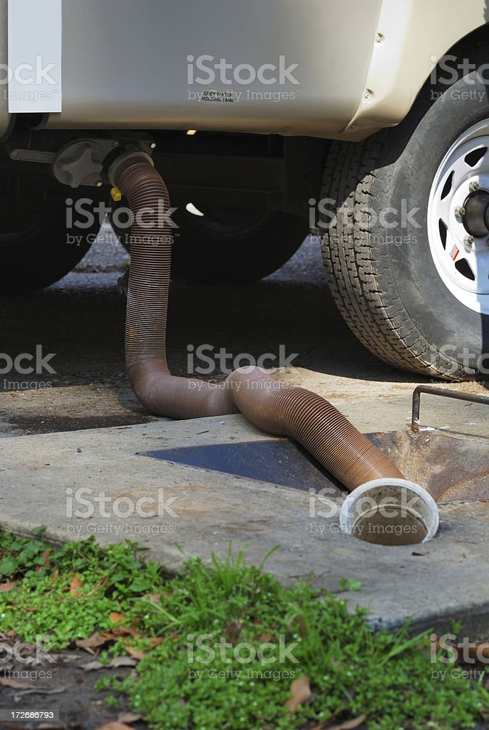RV Sewage Dumping Close Up royalty-free stock photo