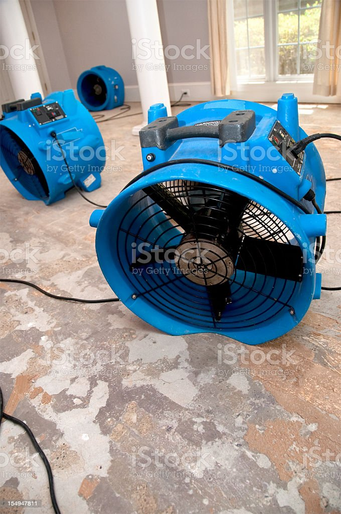 sewage flood home restoration stock photo