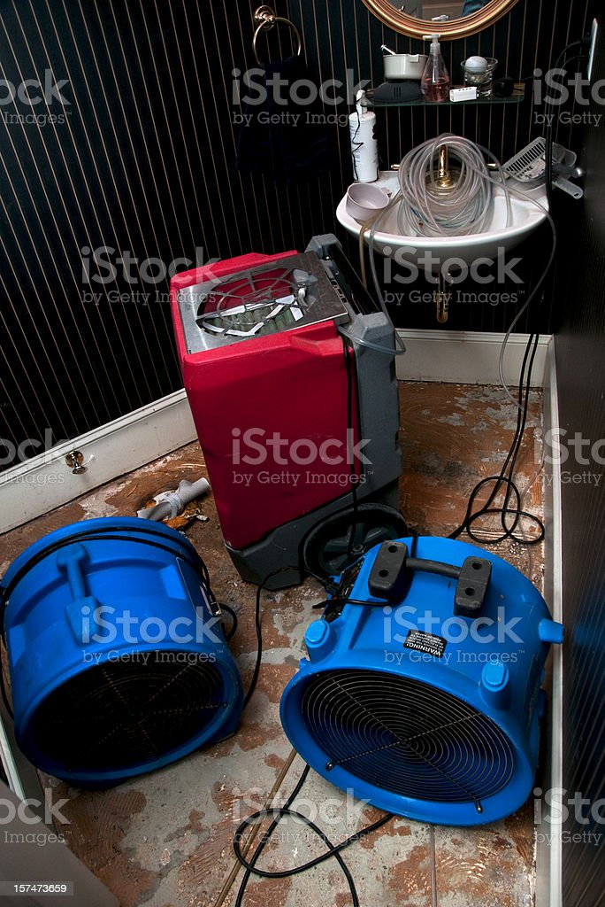 Sewage flood home restoration: Residential Bathroom royalty-free stock photo