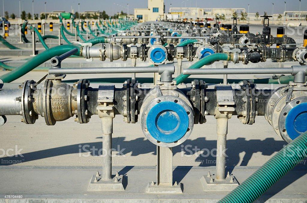 Sewage pipe system stock photo