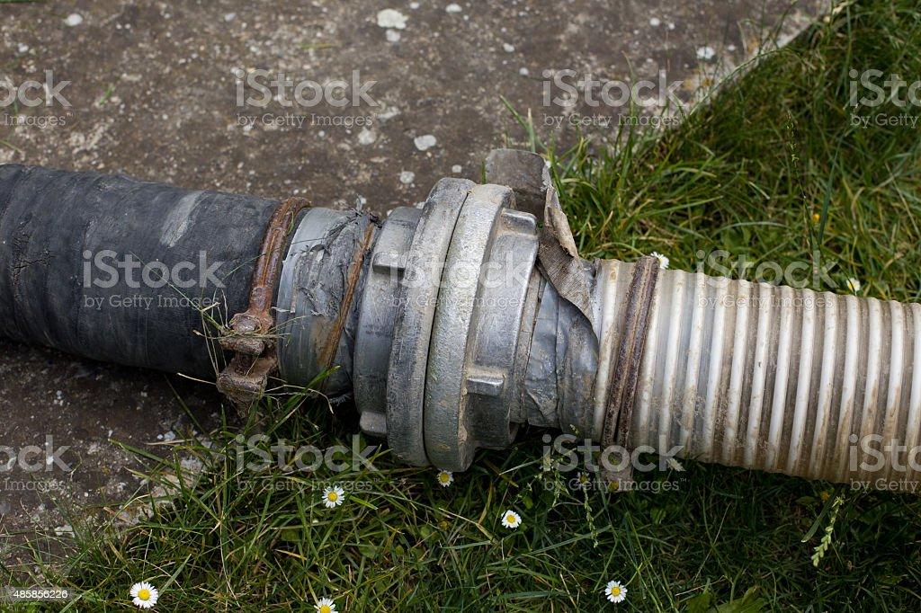 Sewage pipes stock photo
