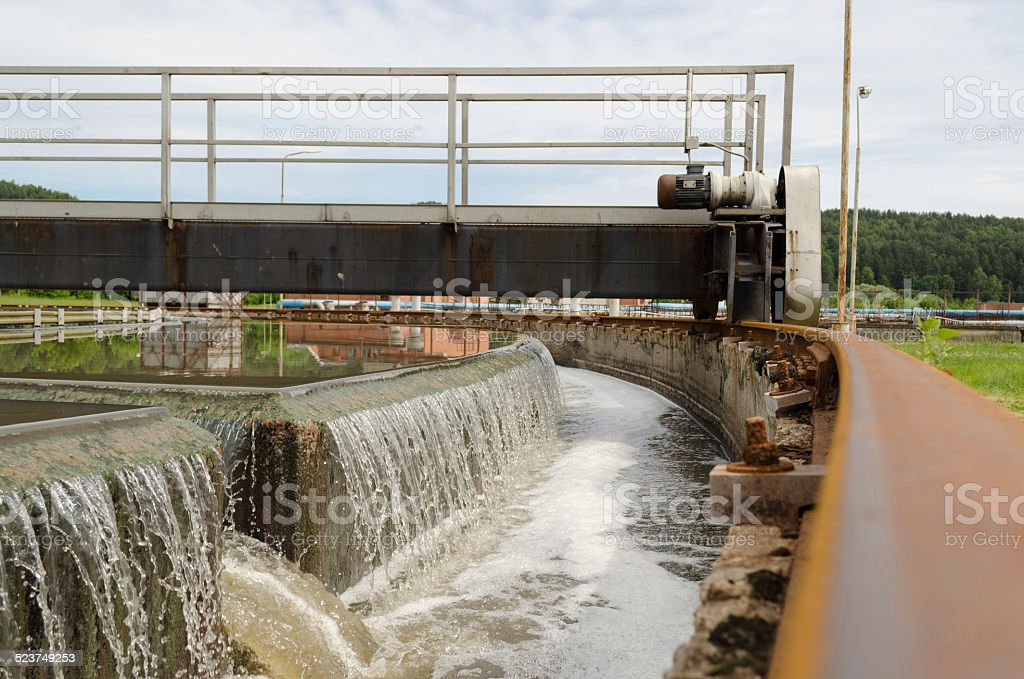 Sewage treatment mechanism spin filter water stock photo