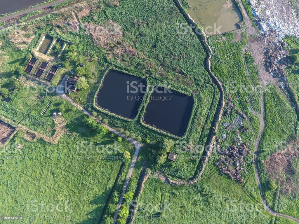 Sewage treatment plant near the city sewage dump stock photo