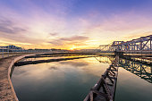 sewage treatment plant with sunrise