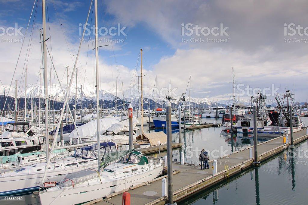 Seward Alaska Boat Harbor in Summer stock photo