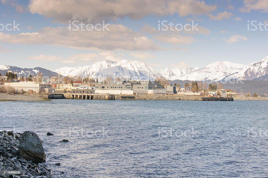 Seward Alaska City Viewed from Resurrection Bay stock photo
