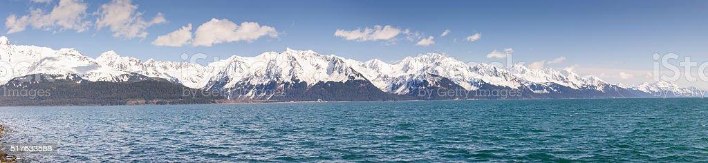 Seward Alaska Resurrection Bay Summer Panorama stock photo