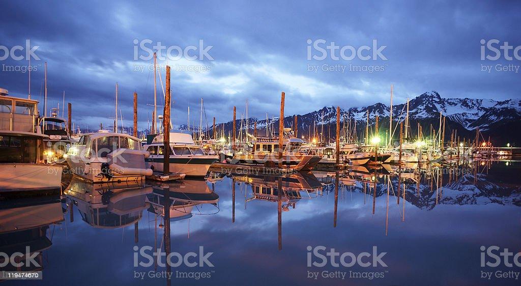 Seward Marina Resurrection Bay Alaska Still Late at Night stock photo