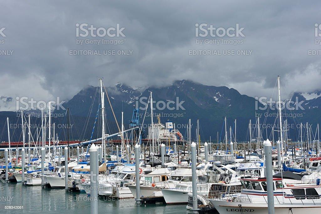 Seward Port in Alaska stock photo