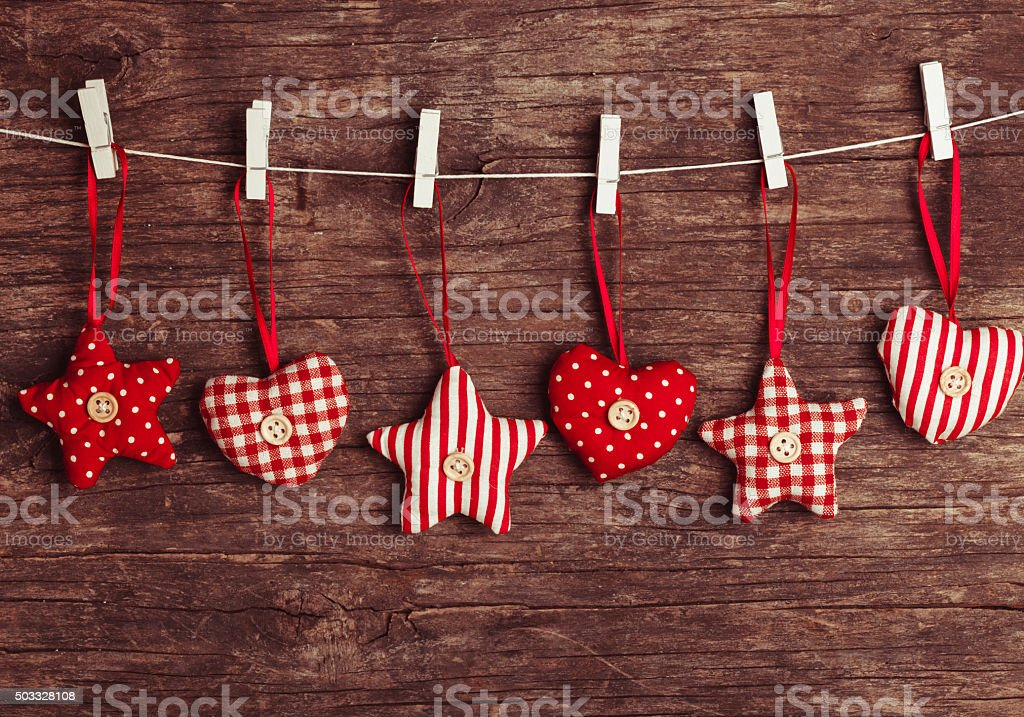 sewed christmas decor stock photo