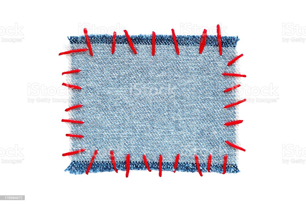 sewed scrap of cloth as frame stock photo