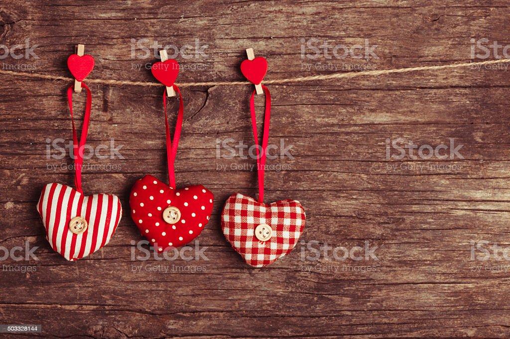 sewed valentine decor stock photo