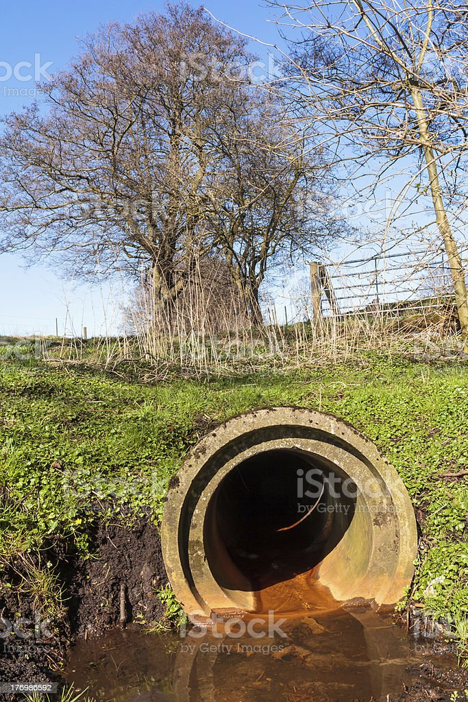 Sewer outlet in the nature royalty-free stock photo