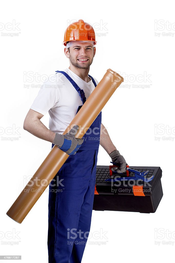 Sewer worker with equipment royalty-free stock photo