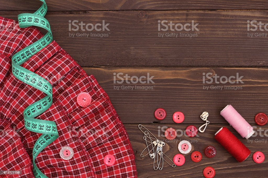 Sewing accessories.  The view from the top. stock photo