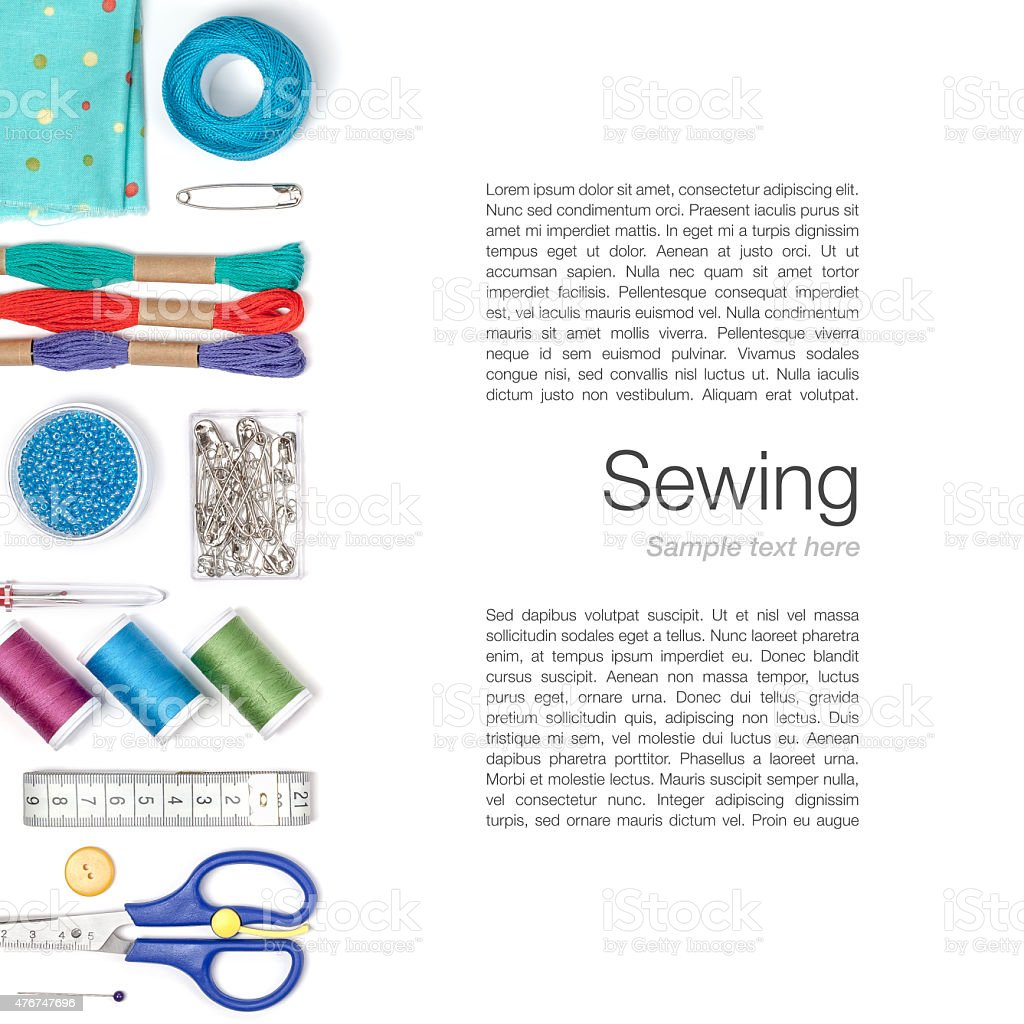 sewing and knitting on white background stock photo