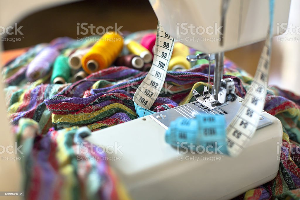 Sewing as a hobby stock photo