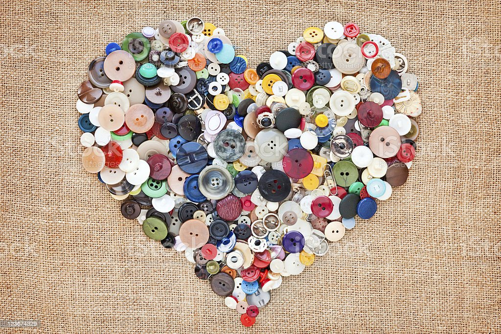 Sewing Buttons heart royalty-free stock photo