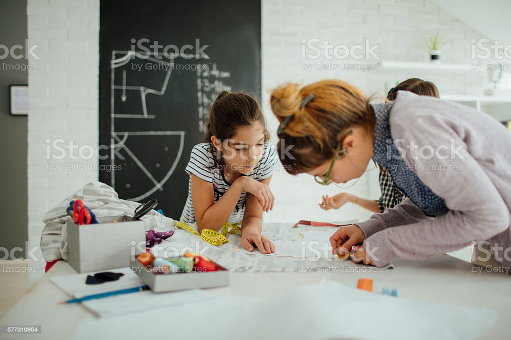 Sewing class for kids. stock photo