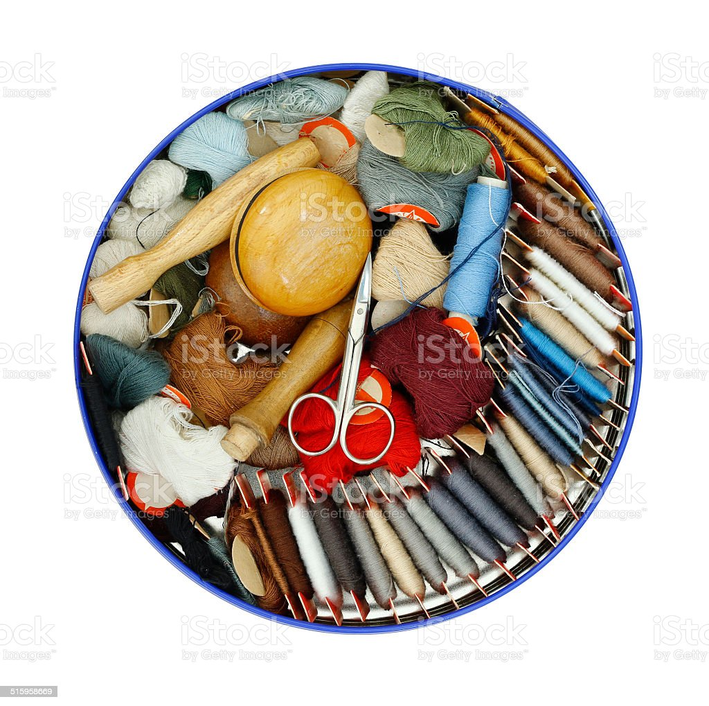 sewing - darning cottons stock photo