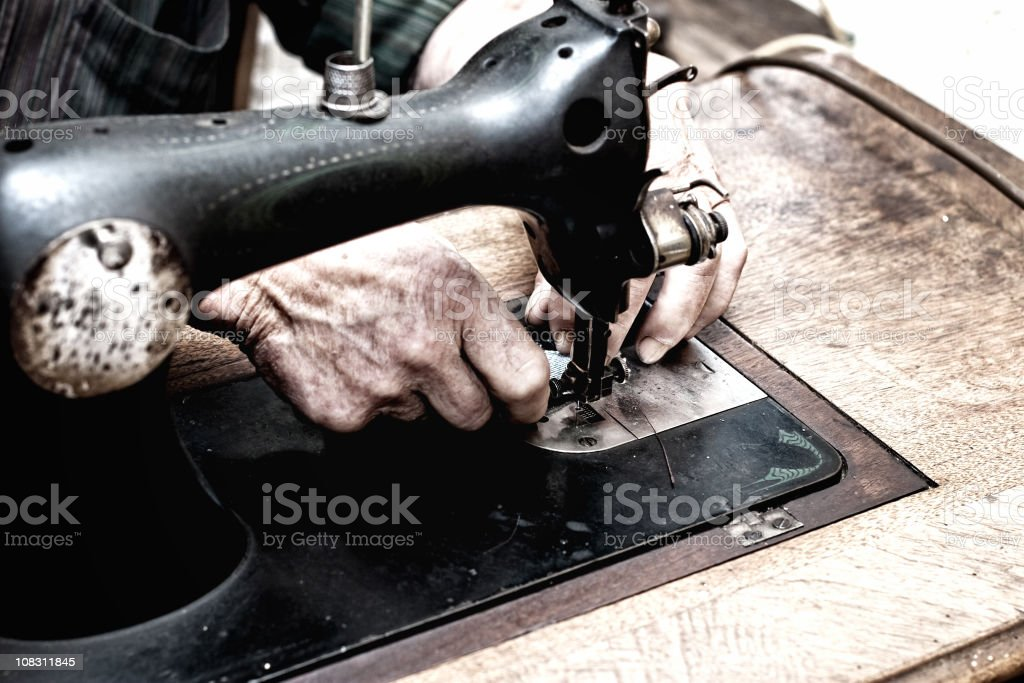 Sewing Hands royalty-free stock photo