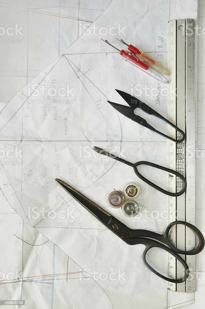 sewing instrument on pattern royalty-free stock photo