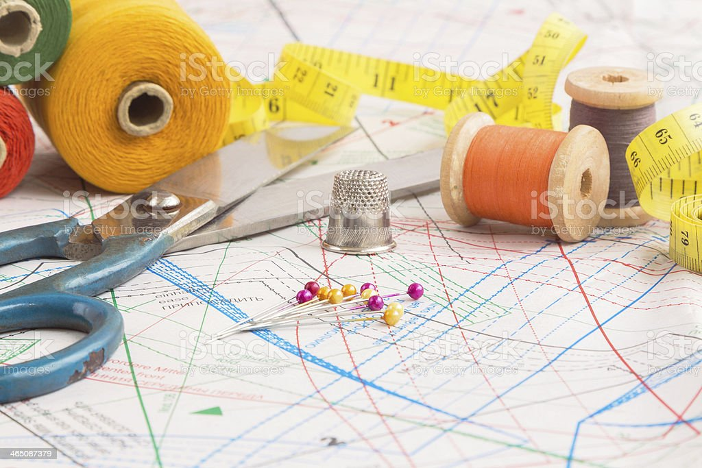 Sewing items background stock photo