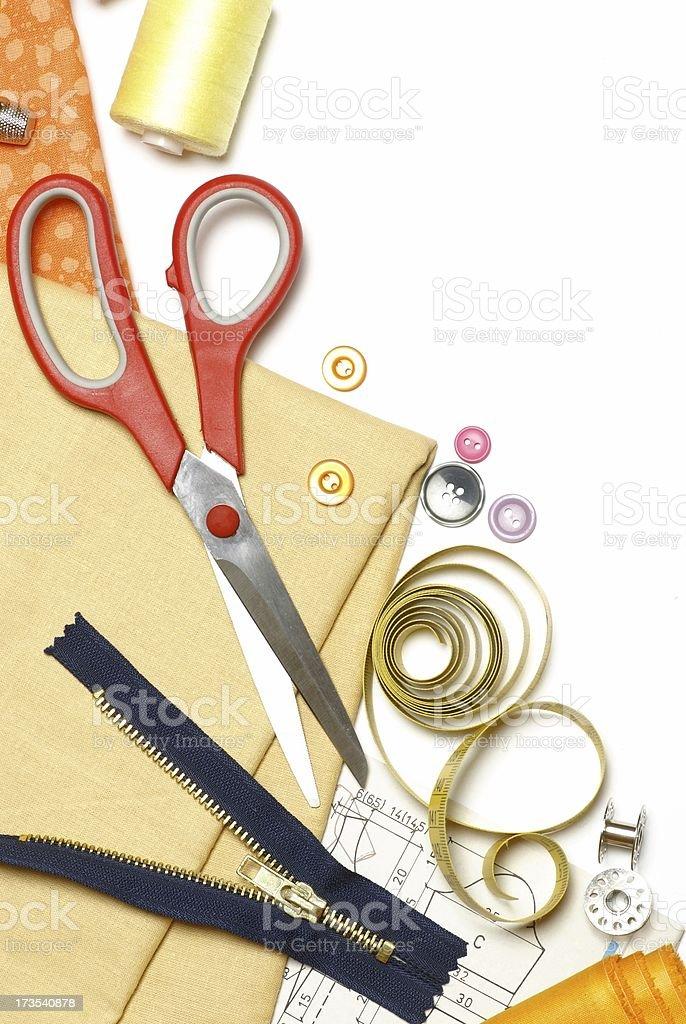 Sewing items border royalty-free stock photo