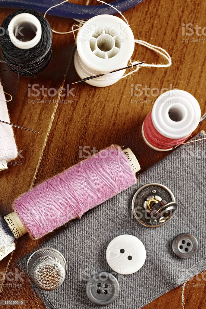 Sewing kit above view royalty-free stock photo