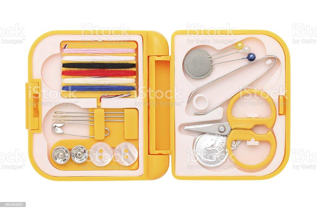 sewing kit on white background stock photo
