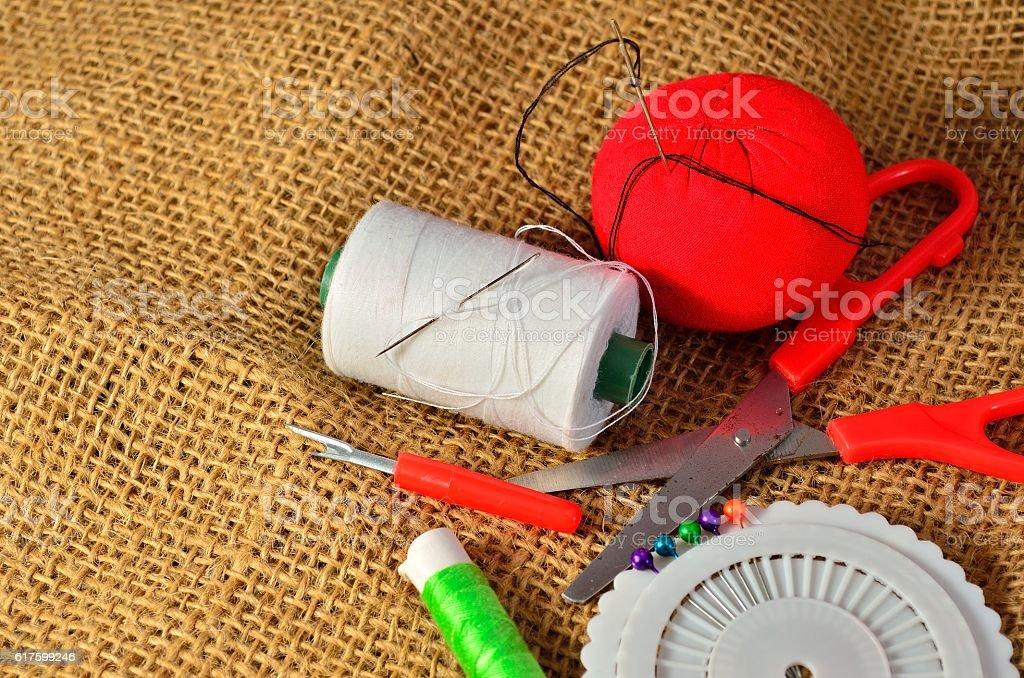 Sewing kit. stock photo