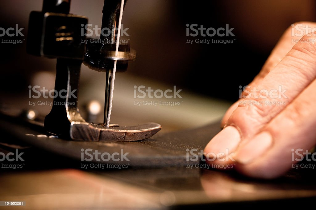Sewing leather stock photo