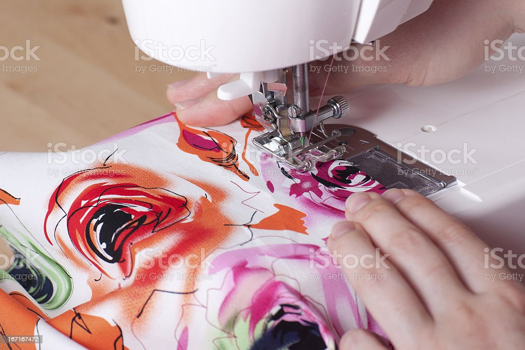 Sewing Machine and Textile stock photo