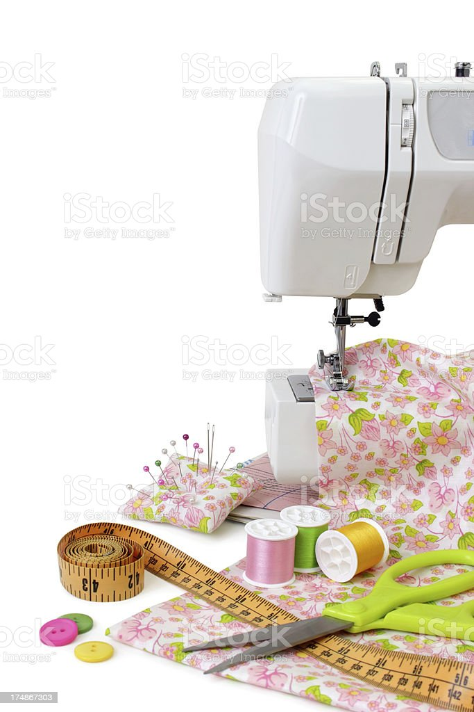 Sewing machine and tools royalty-free stock photo